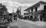 3X5 postcard of Olvera Street looking south- can see City Hall in background. Pelanconi House and...