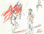 Drawing of the Olympic Torch, April 27, 1996 in Chinatown, by Mary Chaney