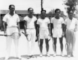 Men at the LA Chinese Tennis Club, George Tong is on the left