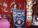 Dr. Julius Sue giving a speech at the Golden Dragon in Chinatown at a Chinese American Citizens'...