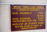 Bryant Temple A.M.E. Church sign
