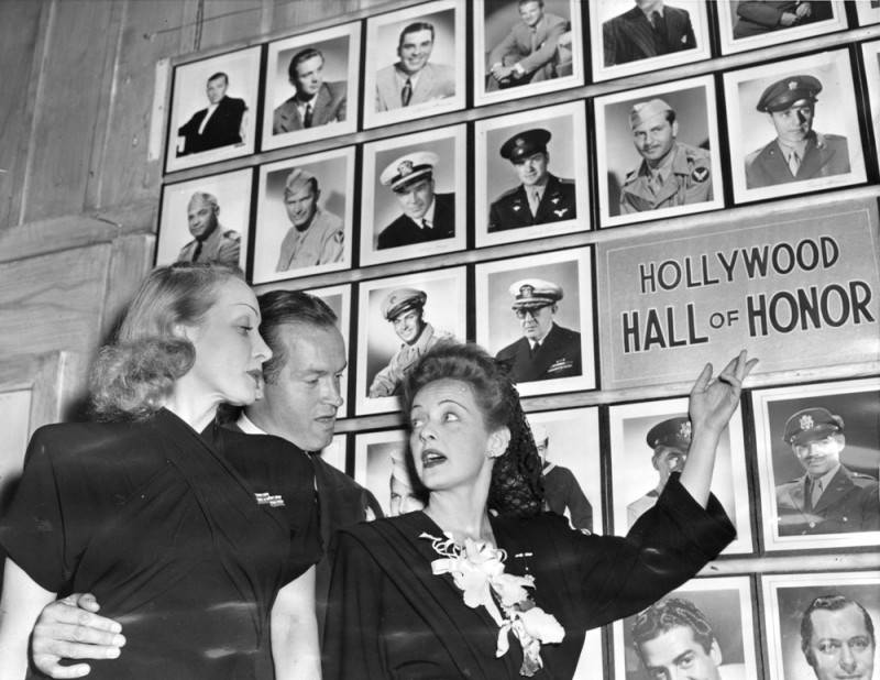 Bette Davis with Marlene Dietrich and Bob Hope in front of the Hollywood Hall of Honor