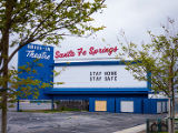 Santa Fe Springs Drive-In Theatre marquee message during the COVID-19 pandemic