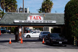 Exterior view of Taix French restaurant during the COVID-19 pandemic