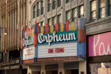 Side view of Orpheum Theatre marquee message during the COVID-19 pandemic