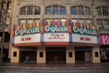 Orpheum Theatre Facade with marquee message during the COVID-19 pandemic