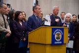 Mayor Eric Garcetti and other officials at a press conference for the COVID-19 pandemic