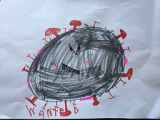 Child's drawing of a wanted sign for the coronavirus made during the COVID-19 pandemic