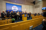 A COVID-19 press conference with Los Angeles County and City officials
