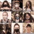 Collage of nine portraits of people wearing face masks during the COVID-19 pandemic