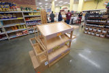 Empty bread shelves at Trader Joe's during the COVID-19 pandemic