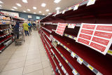 Empty shelves at a Gelson's supermarket during the COVID-19 pandemic