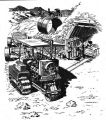 Sketch of early tractor working on building of Los Angeles Aqueduct