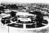 The Los Angeles Plaza in the 1890's, with the Los Angeles City Water Company headquarters...