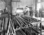Blacksmith sharpening drills to be used in construction of tunnel