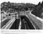 Intersection of Cahuenga Blvd. and Highland Ave., south from Pilgrimage Bridge, showing separated...