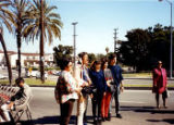 Indian Memorial Garden dedication, Iron Eyes Cody is second from the left (holding a video camera)