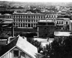 The Pico House from Fort Moore Hill.  Not e the streetcar tracks running down the middle of Main...