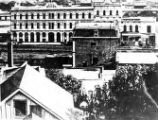The Pico House from Fort Moore Hill. Note the streetcar tracks running down the middle of Main...