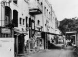 Shot of Olvera Street, northwest side of street is shown with Casa de Allen's, Casa Lola and...