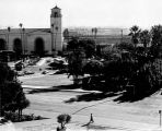 Photograph of Father Serra Park taken from the roof of the Pico House, provides a view of Union...