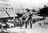 Los Angeles Fire Department parade on Main Street, looking north from the Plaza area with I.W....
