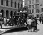 Amoskeag Steam Engine parked for display in front of Pico House (north side) on Paseo de la Plaza