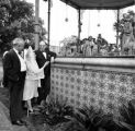 View of the nativity scene from ground with Willis Fisher, Mario Valadez, and Senara de Bonzo...