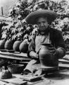 Photograph of a potter, Senor Leonincio Madero a Lt. in Pancho Villa's army,  at work
