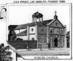 Drawing of the Plaza Church from Views of Los Angeles and Vicinity, California