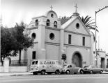 "Frontal shot of Plaza Church with ""Viva Zapata"" truck parked outside"