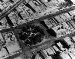 Aerial view of the Plaza and surrounding buildings (Pico House, Brunswig Drug Co., Plaza...