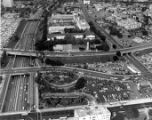 Aerial photo of the Hollywood Freeway and Broadway, Hill and Spring Streets