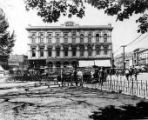 Pico House as National Hotel, with Plaza square in front