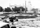 Construction of Placita de Dolores, Union Station in the background