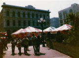 Tents in front of the Pico House for the Mexican Chamber of Commerce Fair