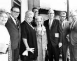 Group of people, including Bishop Ward, Consuelo de Bonzo, Judge Faries and June Parks, at the...