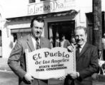 Hubert Laugharn and Sam Yorty with plaque at the Sunset Boulevard closing