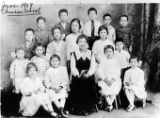 Portrait of a Chinese school class. Jenny Lee (third from left on second row), Mrs. Leong Jeung...