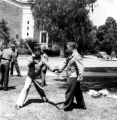California State Chinese Militia weekly training. Exposition Park, California. State Armory area