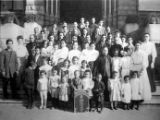 Lillie Louie, Congregational Church group in front of Los Angeles old courthouse. The baby is Miss...