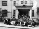 Group photo in front of the Chinese Presbyterian Church, San Francisco. (Morton Photographers)
