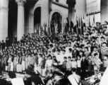 Photo of young children standing on the steps of Los Angeles City Hall.