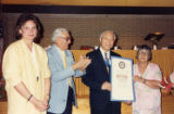 Honor Day at St. Sophia Church, third district. T.S. Liu received an award. Here Larry Wong is...