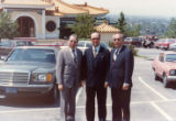 Poy Wong (left), and Wilbur Woo (right) in front of the Fung Lum Restaurant, Universal City