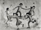 Mural of children playing ring around the rosy by Leo Politi, at Castelar Elementary School, near...