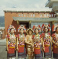 Lily Lum Chan with young Taiwanese women in indigenous attire at Hualien Airport, Chinese American...