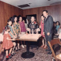 Celebrating mother's birthday. From left to right are: Sarah, Alice, Ko Po Kwok (Esther's mother),...