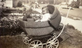 Ronald in a baby carriage