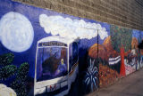 Painting of a bus, a mural